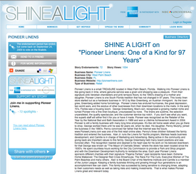 American Express, NBC Universal Shine-A-Light small business grant – Pioneer Linens needs your vote!